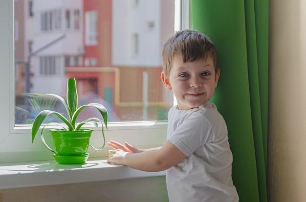 Rapaz alegre quer andar na rua, a criança senta-se perto da janela e olha para ela. quarentena (auto-isolamento) devido a infecção por coronovírus