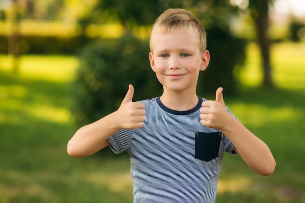 Rapaz bonito, sorrindo e posando para o fotógrafo. criança alegre caminha pelo parque. verão ensolarado.