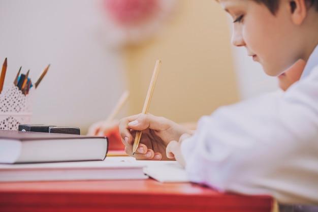 Rapaz, criança na escola tem um feliz, curioso, inteligente. educação, dia do conhecimento, ciência, geração, pré-escola.