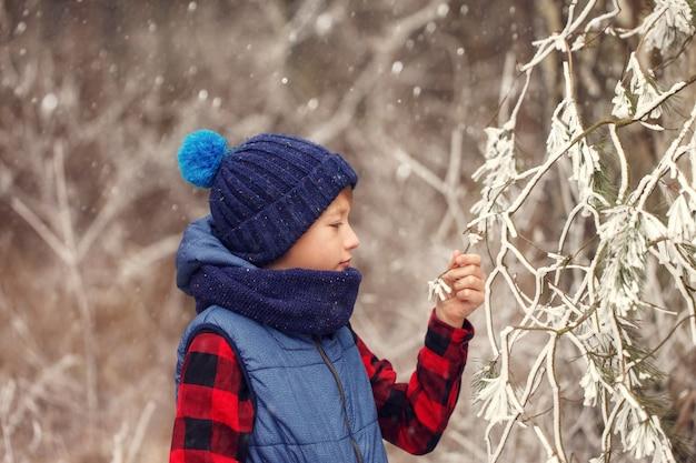 Rapaz de chapéu quente e cachecol no inverno andando na floresta