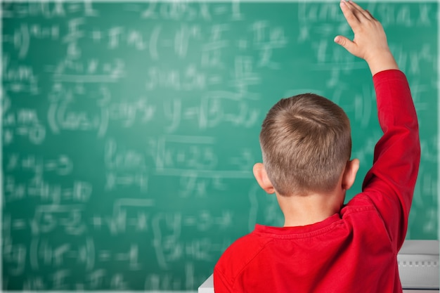 Rapaz estudando matéria na escola, vista traseira, plano de fundo do quadro-negro.