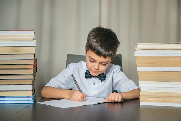 Rapaz faz lição de casa. educação, de volta ao conceito de escola.