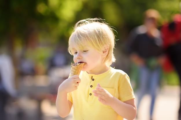 Rapaz pequeno bonito que come o gelado do gelado ao ar livre.