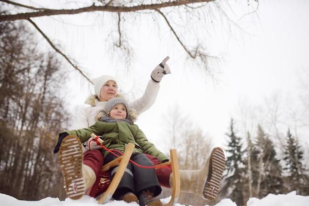 Rapaz pequeno e mãe / avó / babá que desliza no parque.
