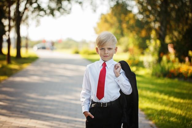 Rapaz pequeno que veste o terno de negócio e a gravata vermelha no fundo da natureza