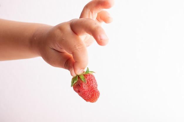 Rapaz tem morangos no dedo, mãos de crianças