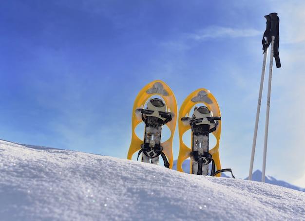 Raquetes de neve que plantam na neve na montanha sob o céu azul