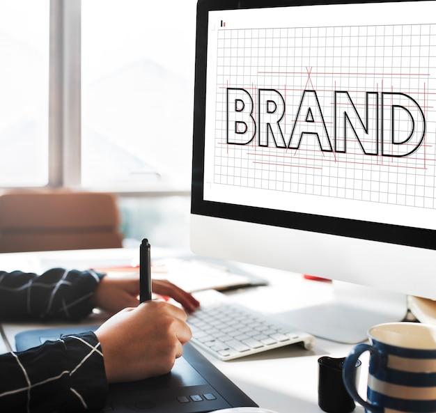 Rascunho do conceito gráfico do nome de copyright da marca