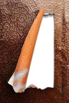 Rasgou o modelo de papel de textura isolado fundo branco