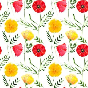 Raster sem costura padrão ilustração de flores em aquarela papoulas com folhas