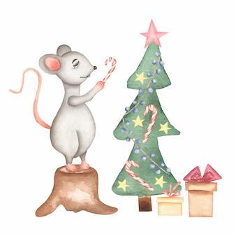 Rato de natal em aquarela mão desenhada bonito dos desenhos animados