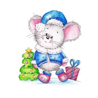 Rato engraçado cinza, com um boné azul, casaco e botas perto da árvore de natal com um presente pintado em aquarela sobre branco