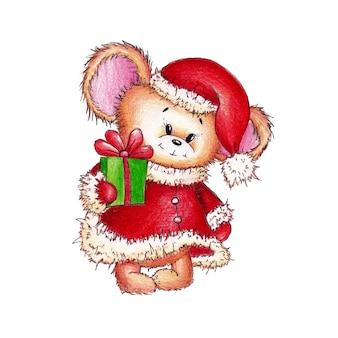 Rato engraçado vermelho, com boné vermelho, casaco do papai noel com um presente na pata pintado em aquarela sobre branco