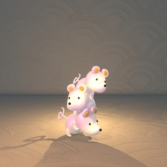 Ratos de desenho em 3d renderizados