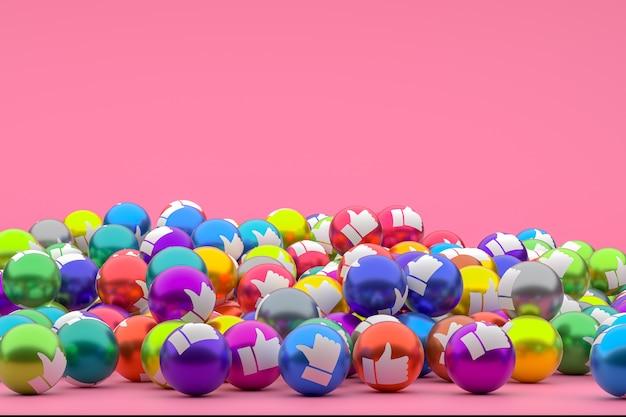 Reação do facebook emoji 3d, simbolizando balões de mídia social com um ícone de polegar para cima para várias cores