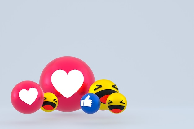Reação emojis 3d render
