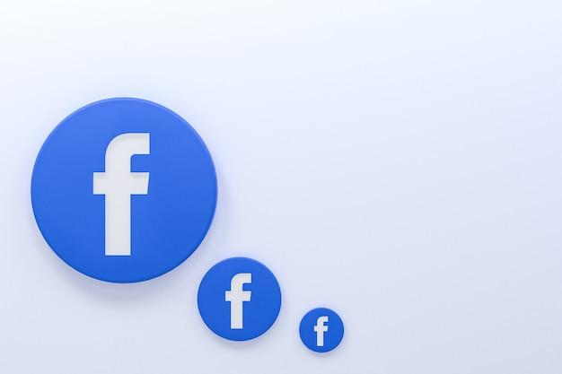 Reações de ícone do facebook emoji 3d render, símbolo de mídia social