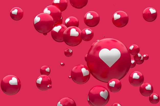 Reações do facebook emoji 3d render foto premium, símbolo de balão de mídia social com coração, feliz dia dos namorados cartão