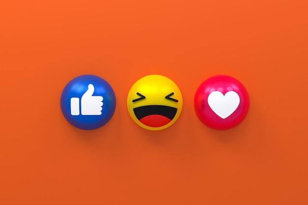 Reações do facebook emoji 3d render, símbolo de balão de mídia social com facebook
