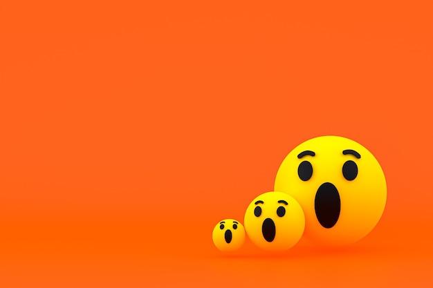 Reações do facebook emoji 3d render, símbolo de balão de mídia social com padrão de ícones do facebook