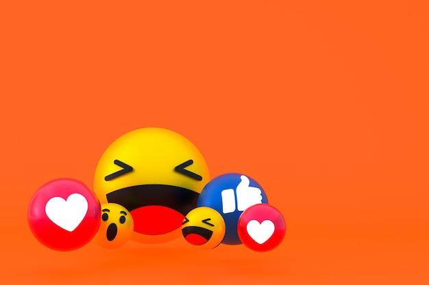 Reações do facebook emoji 3d render, símbolo de balão de mídia social em fundo laranja