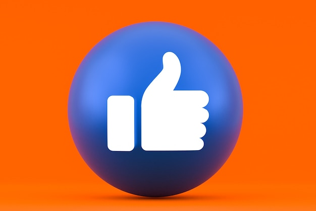 Reações do facebook emoji 3d render, símbolo de mídia social