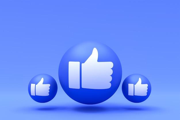Reações no facebook como render emoji 3d, símbolo de balão de mídia social com símbolos do facebook