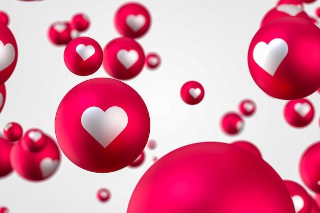 Reações no facebook coração emoji 3d render foto premium, símbolo de balão de mídia social com coração, feliz dia dos namorados cartão