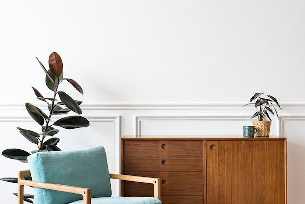 Recanto de leitura moderno de meados do século em um apartamento