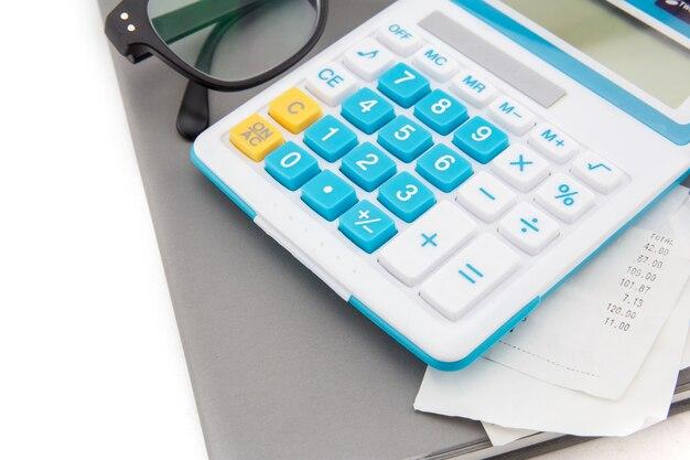 Recebimento ou conta na loja na calculadora cinza