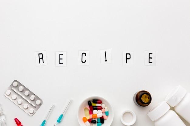 Receita de comprimidos na mesa