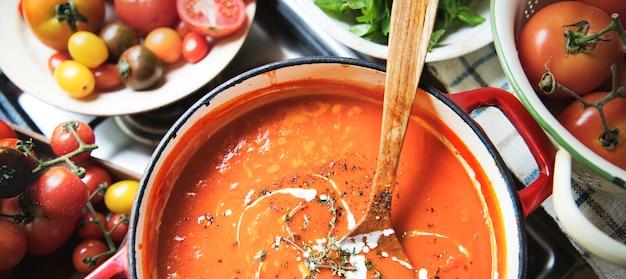 Receita de fotografia de comida cremosa de molho de tomate