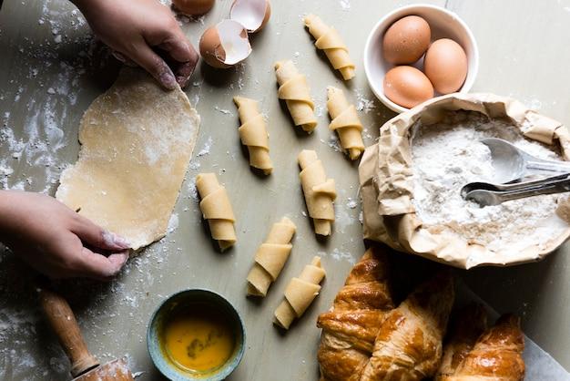 Receita de fotografia de comida de croissants caseiros