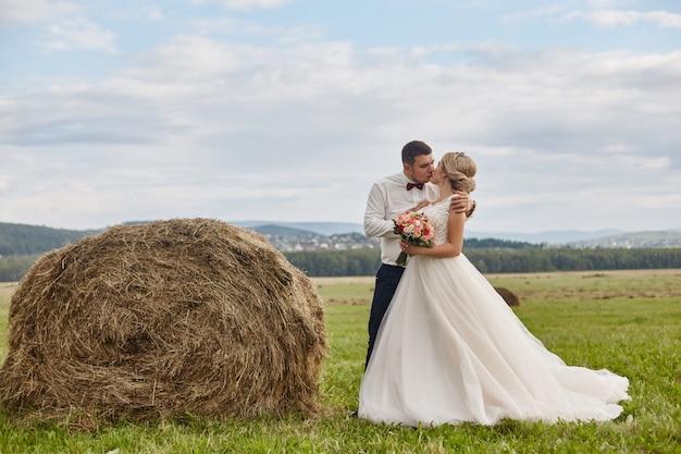 Recém-casados caminhar e relaxar no campo