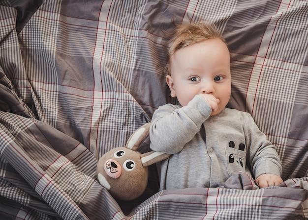 Recém-nascido até quatro meses de idade, deitado na cama com uma lebre de brinquedo