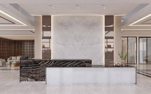 Recepção com parede de mármore branca vazia para design de simulação de logotipo