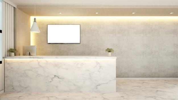 Recepção de balcão de mármore para hotel - 3d rendering