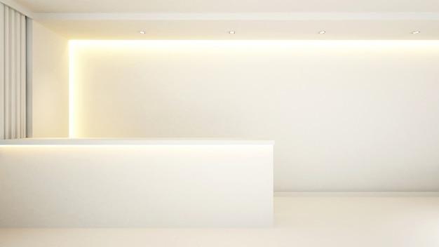 Recepção de contador branco para hotel - 3d rendering