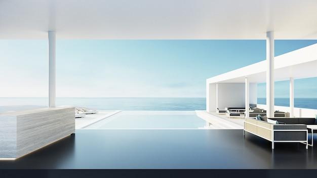 Recepção de resort e hotel / renderização 3d