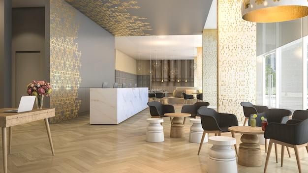 Recepção e sala de estar do hotel luxuoso da rendição 3d