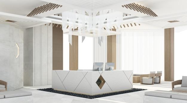 Recepção mainhall com balcão de concreto cinza e decoração de teto de design e coluna de madeira