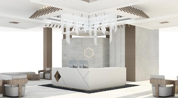 Recepção mainhall com balcão de concreto cinza e decoração de teto projetada e renderização em coluna de madeira
