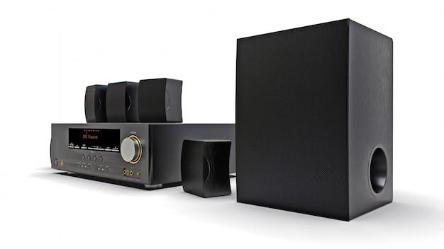 Receptor de dvd preto e sistema de home theater com alto-falantes e subwoofer