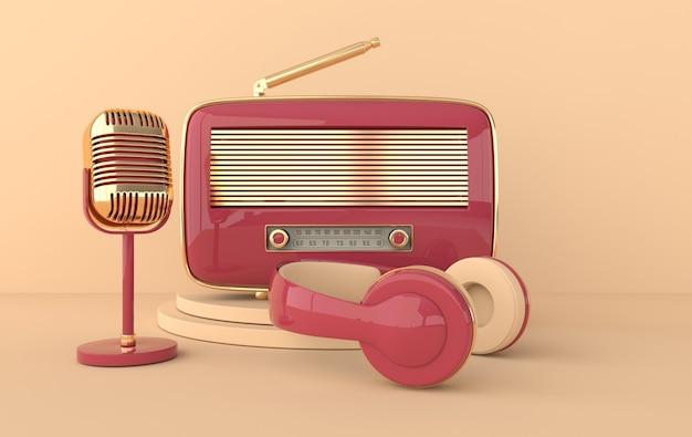 Receptor de rádio e microfone com fones de ouvido estilo vintage