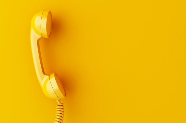 Receptor do telefone 3d no fundo amarelo.