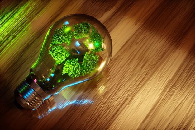 Reciclagem de conceito de lâmpada. imagem 3d gerada por computador.