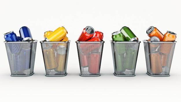 Reciclagem de latas de bebida conceito na lata de lixo renderização em 3d