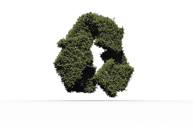 Reciclagem de sinal feito de folhas