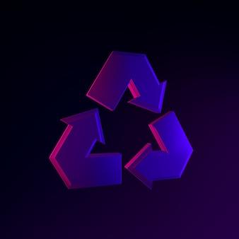 Reciclagem do ícone do símbolo de néon. elemento de interface ui ux de renderização 3d. símbolo escuro e brilhante.