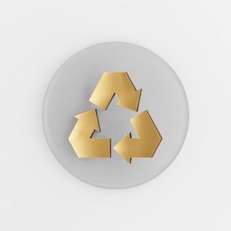 Reciclagem do ícone do símbolo dourado. botão chave redondo cinza de renderização 3d, elemento interface ui ux.